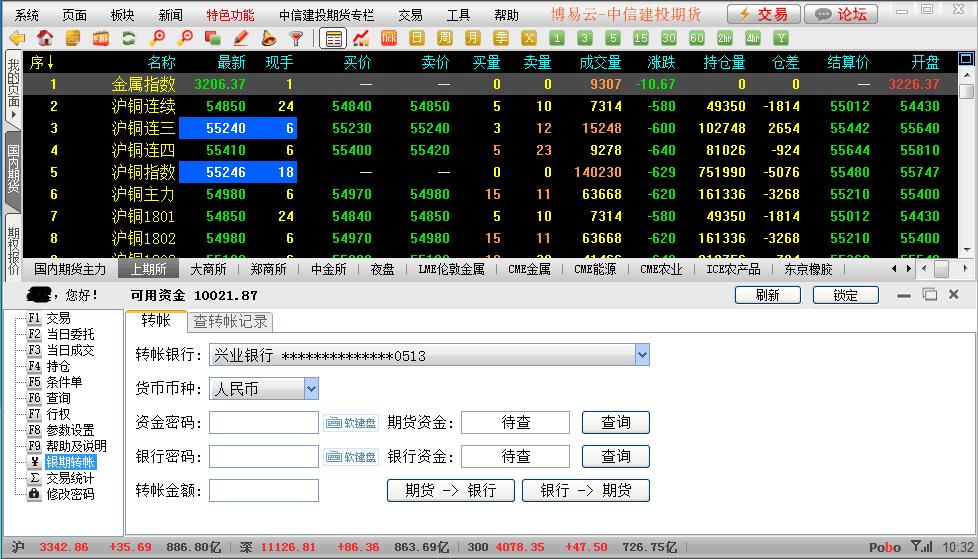 博易云(博易大师)期货软件出入金操作流程