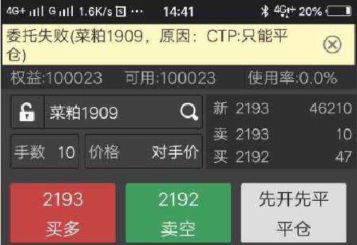 期货交易委托失败 原因:CTP只能平仓