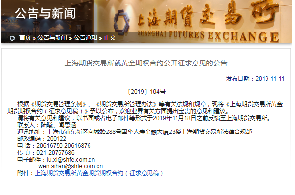 上海期货交易所黄金期权合约
